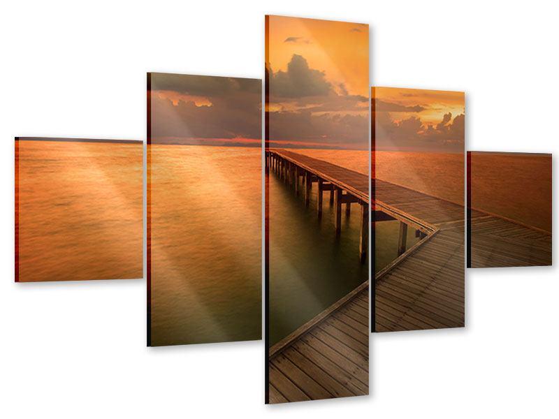 Acrylglasbild 5-teilig Der Steg am Meer