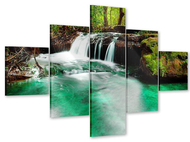 Acrylglasbild 5-teilig Der Fluss am Wasserfall