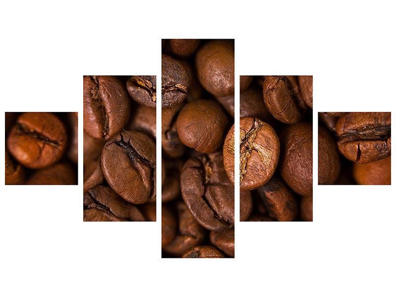 Acrylglasbild 5-teilig Close Up Kaffeebohnen