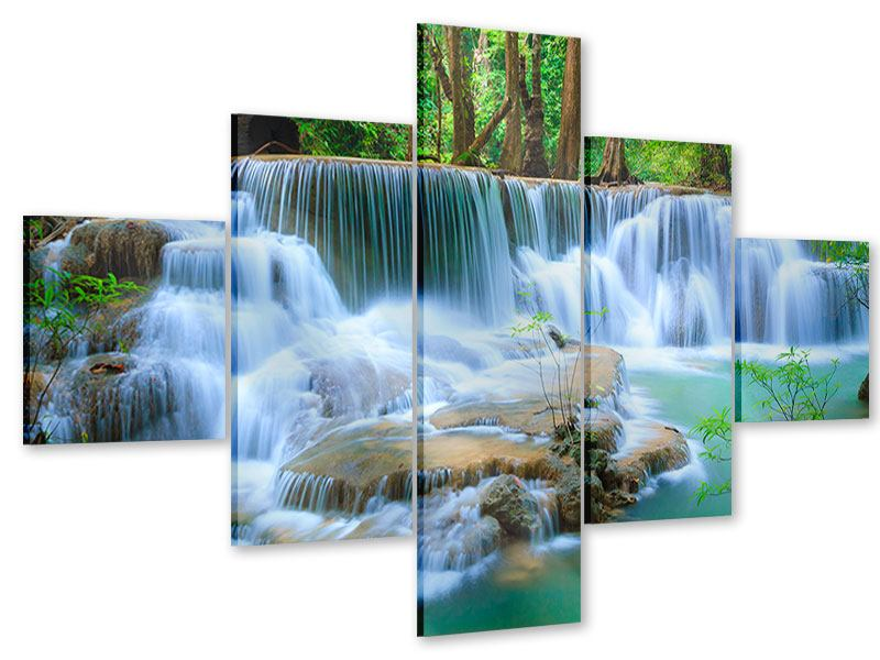 Acrylglasbild 5-teilig Kaskaden Huay Mae Khamin