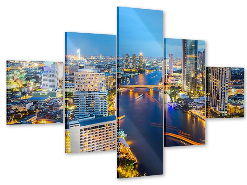 Acrylglasbild 5-teilig Skyline Bangkok bei Sonnenuntergang