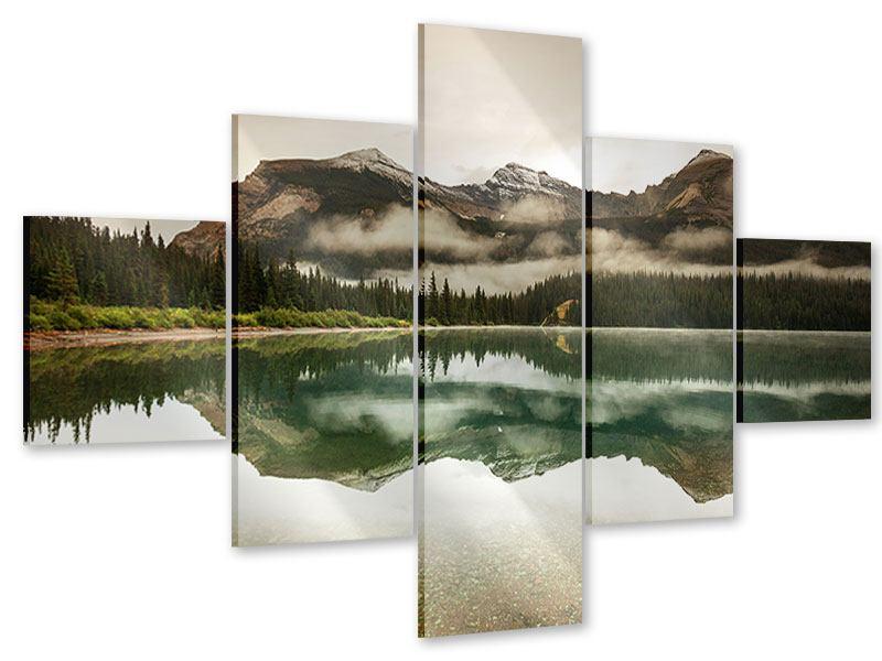 Acrylglasbild 5-teilig Spiegelung im Glacier Nationalpark