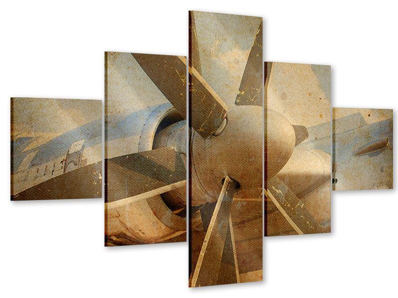 Acrylglasbild 5-teilig Propellerflugzeug im Grungestil