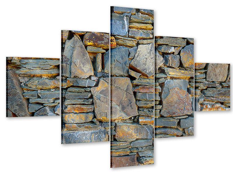 Acrylglasbild 5-teilig Natürliche Steinmauer