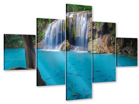 Acrylglasbild 5-teilig Naturerlebnis Wasserfall