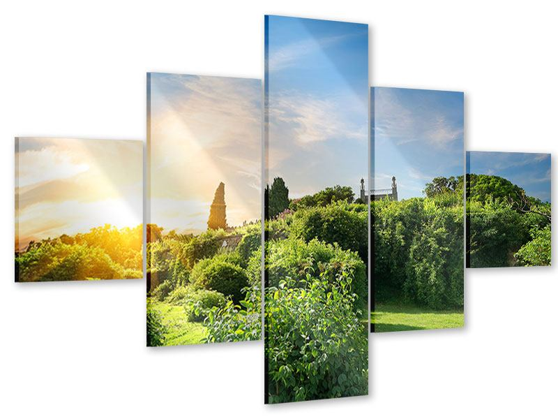 Acrylglasbild 5-teilig Sonnenaufgang im Park
