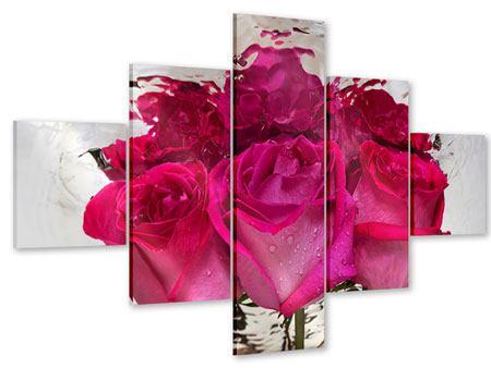 Acrylglasbild 5-teilig Die Rosenspiegelung