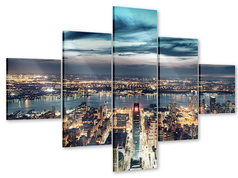 Acrylglasbild 5-teilig Skyline Manhattan Citylights