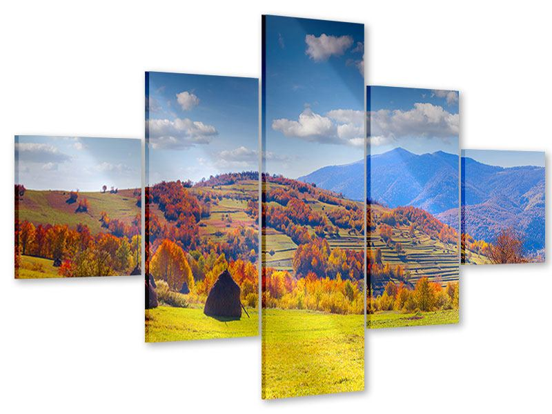 Acrylglasbild 5-teilig Herbstliche Berglandschaft