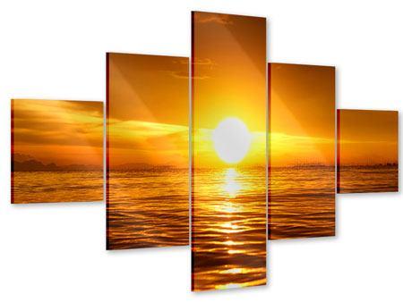 Acrylglasbild 5-teilig Glühender Sonnenuntergang am Wasser