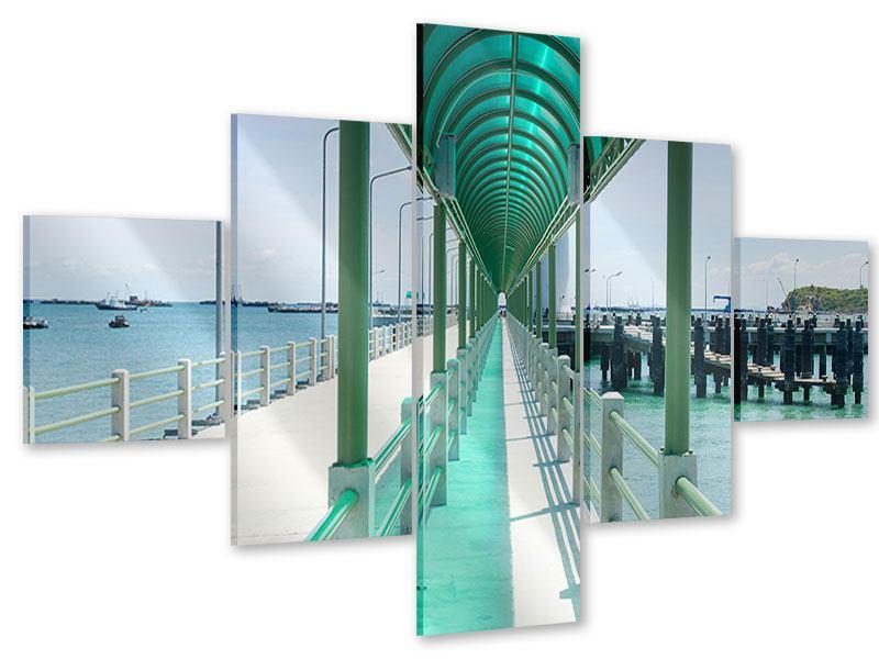 Acrylglasbild 5-teilig Die Brücke am Meer