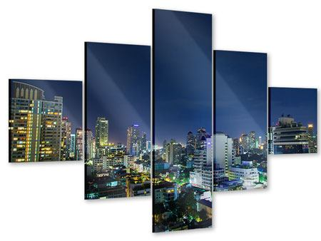 Acrylglasbild 5-teilig Skyline Nachts in Bangkok