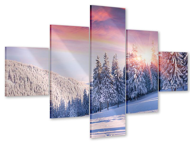 Acrylglasbild 5-teilig Winterlandschaft