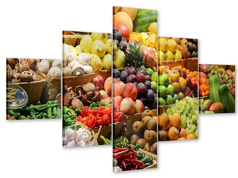 Acrylglasbild 5-teilig Obstmarkt