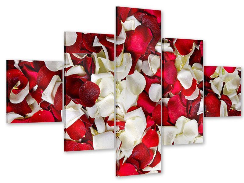 Acrylglasbild 5-teilig Rosenblätter