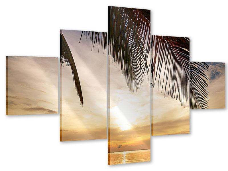 Acrylglasbild 5-teilig Strandpalme