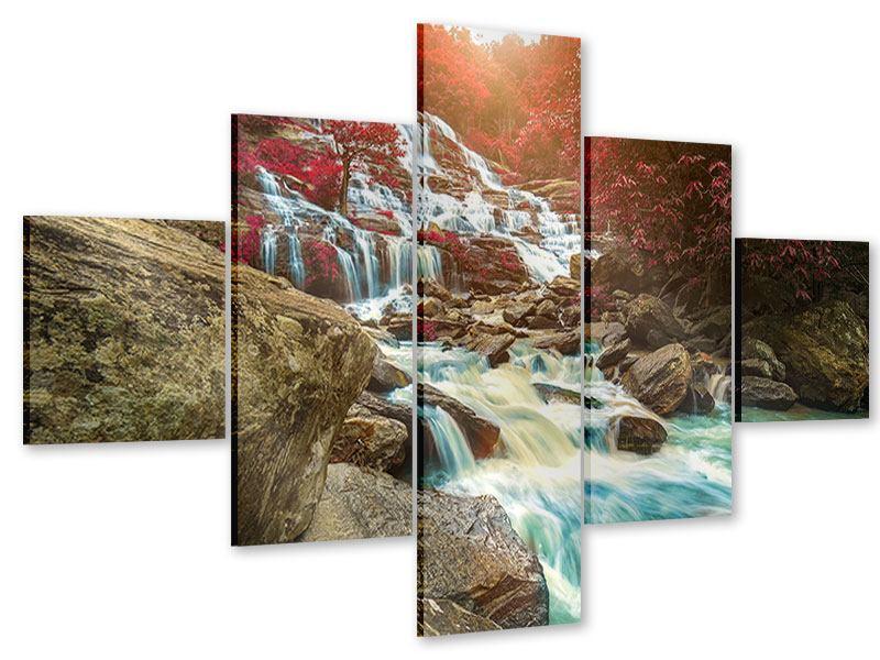 Acrylglasbild 5-teilig Exotischer Wasserfall