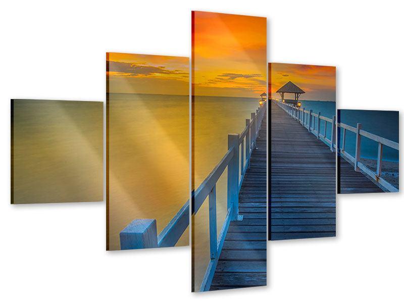 Acrylglasbild 5-teilig Eine Holzbrücke im fernen Osten