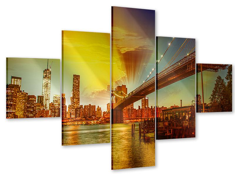 Acrylglasbild 5-teilig Skyline Brooklyn Bridge NY