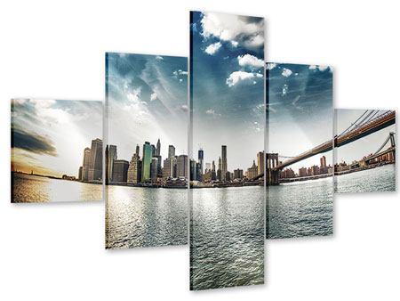 Acrylglasbild 5-teilig Brooklyn Bridge From The Other Side