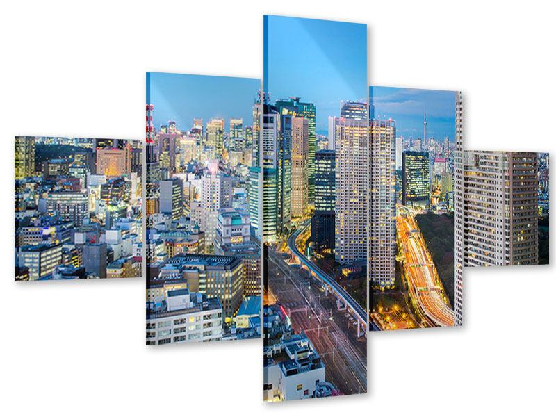 Acrylglasbild 5-teilig Skyline Tokio im Lichtermeer