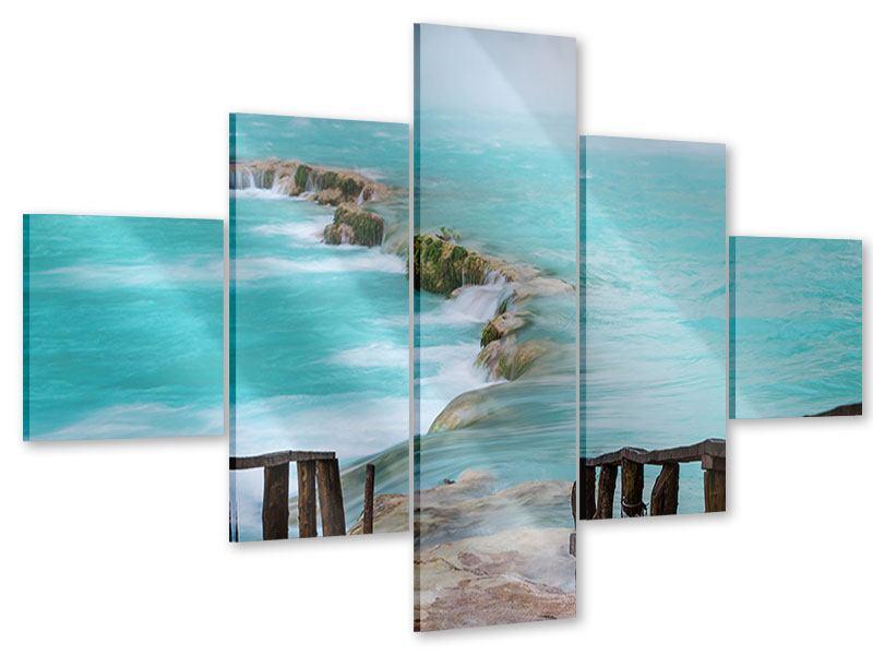 Acrylglasbild 5-teilig Haus am Wasserfall