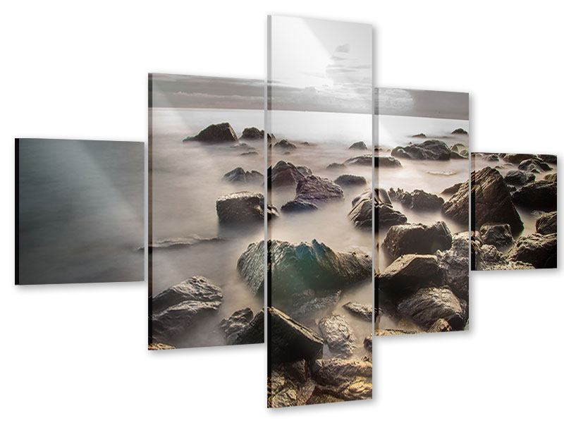 Acrylglasbild 5-teilig Steine am Strand