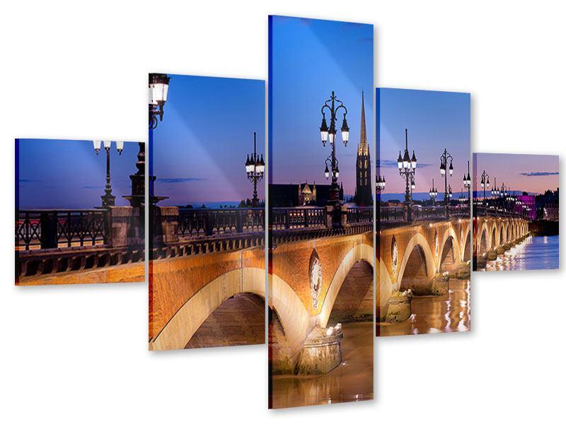 Acrylglasbild 5-teilig Pont De Pierre bei Sonnenuntergang