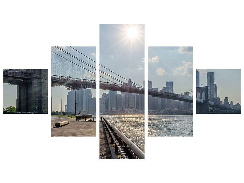 Acrylglasbild 5-teilig Brooklyn Bridge