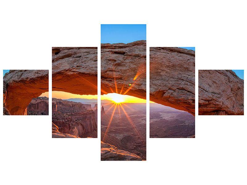 Acrylglasbild 5-teilig Sonnenuntergang am Mesa Arch