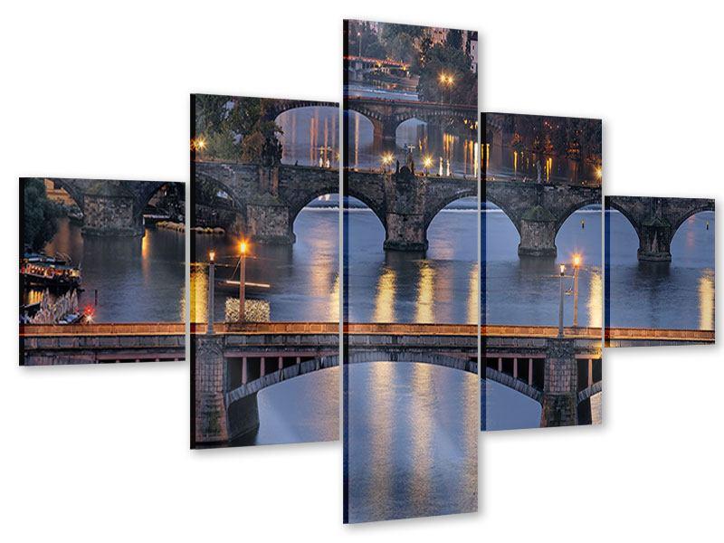 Acrylglasbild 5-teilig Brücken in Prag
