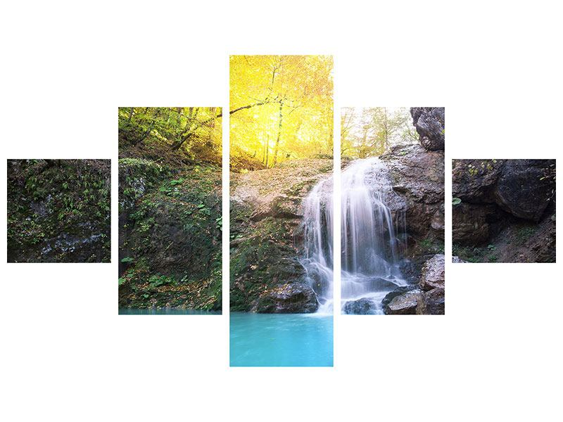 Acrylglasbild 5-teilig Fliessender Wasserfall