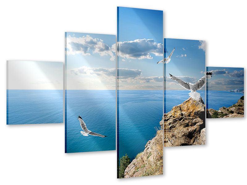 Acrylglasbild 5-teilig Die Möwen und das Meer