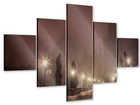 Acrylglasbild 5-teilig Die Karlsbrücke bei Nacht