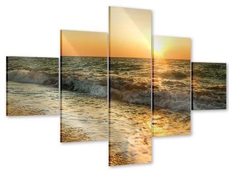 Acrylglasbild 5-teilig Sonnenuntergang am Meer