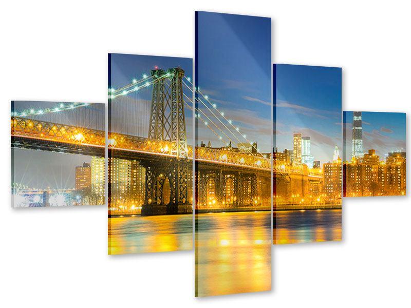 Acrylglasbild 5-teilig Brooklyn Bridge bei Nacht