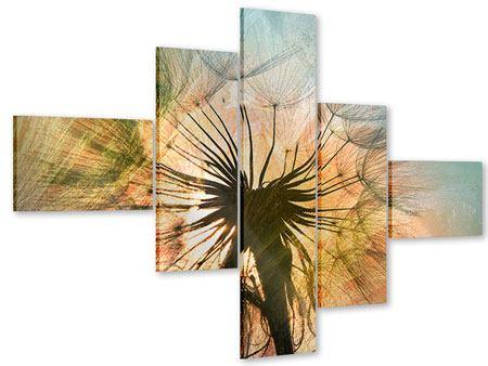Acrylglasbild 5-teilig modern XXL Pusteblume
