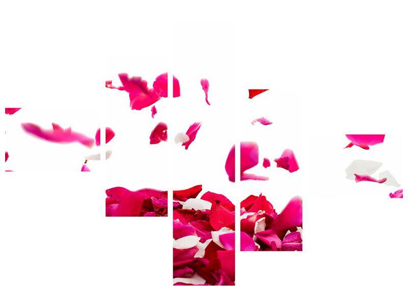 Acrylglasbild 5-teilig modern Für mich soll`s rote Rosen regnen