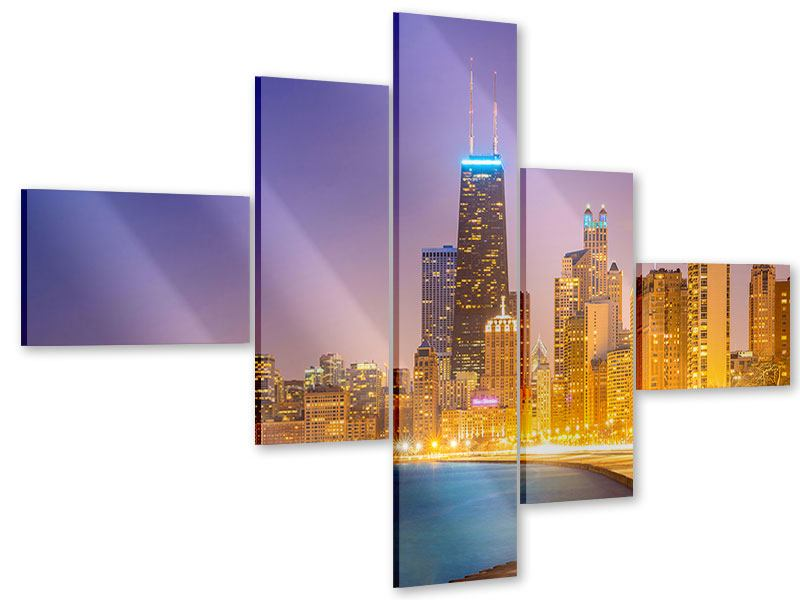 Acrylglasbild 5-teilig modern Skyline Chicago in der Nacht