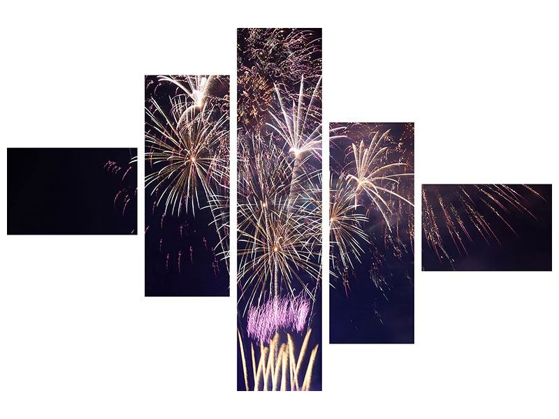 Acrylglasbild 5-teilig modern Feuerwerk
