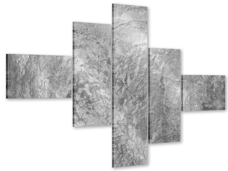 Acrylglasbild 5-teilig modern Wischtechnik in Grau