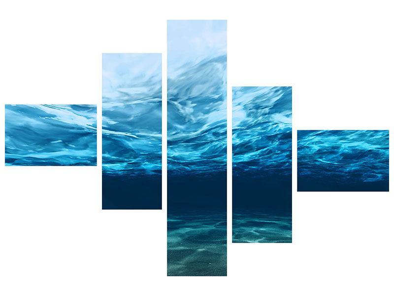 Acrylglasbild 5-teilig modern Lichtspiegelungen unter Wasser