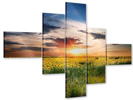 Acrylglasbild 5-teilig modern Ein Feld von Sonnenblumen
