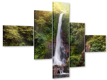 Acrylglasbild 5-teilig modern Wasserfall Bali