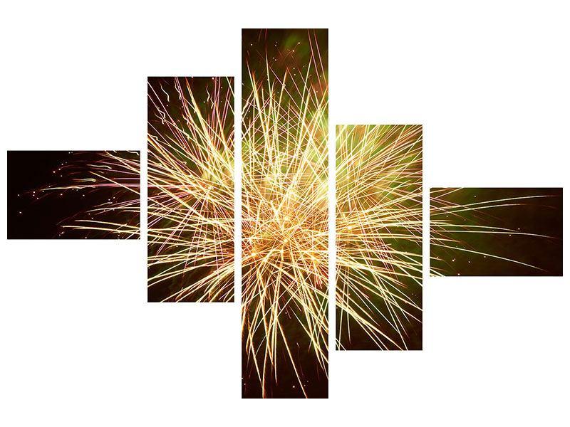 Acrylglasbild 5-teilig modern Feuerwerk XXL