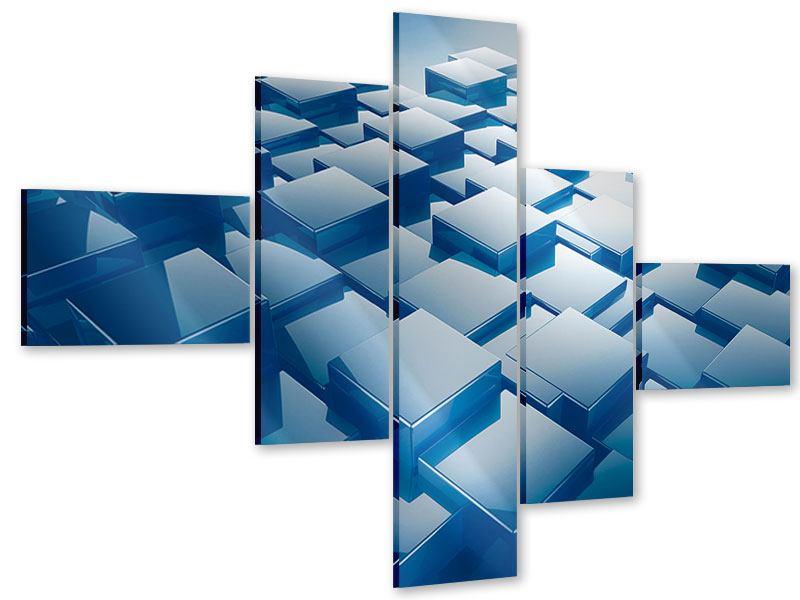 Acrylglasbild 5-teilig modern 3D-Cubes