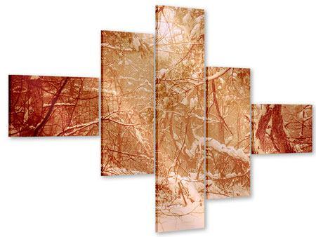 Acrylglasbild 5-teilig modern Schneewald