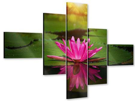 Acrylglasbild 5-teilig modern Lilienspiegelung