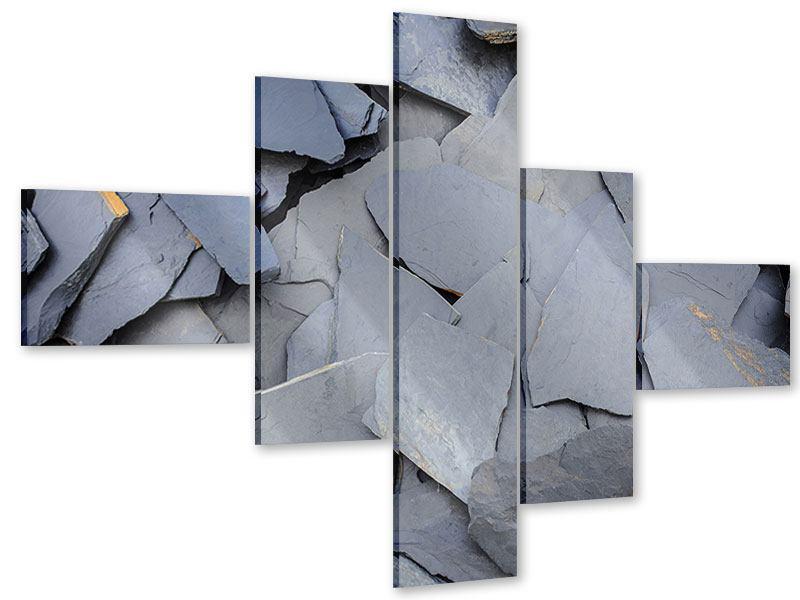 Acrylglasbild 5-teilig modern Schieferplatten