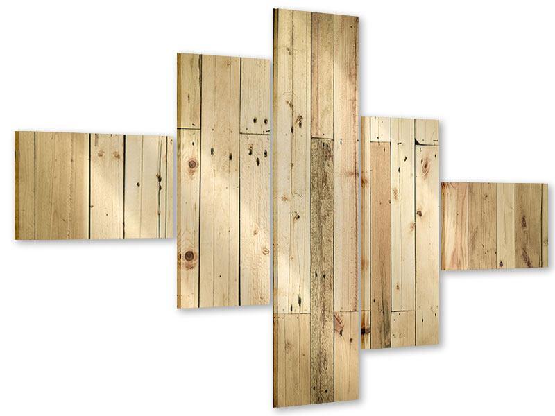 Acrylglasbild 5-teilig modern Holzpaneelen